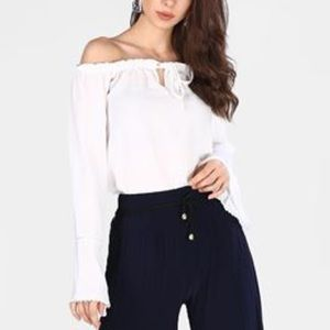 Boohoo White Off The Shoulder Keyhole Tie Up Top